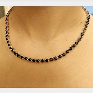 SJM sterling silver tennis necklace